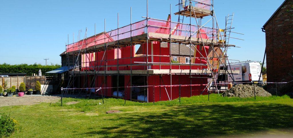 stable cottage self build timber frame scaffolding
